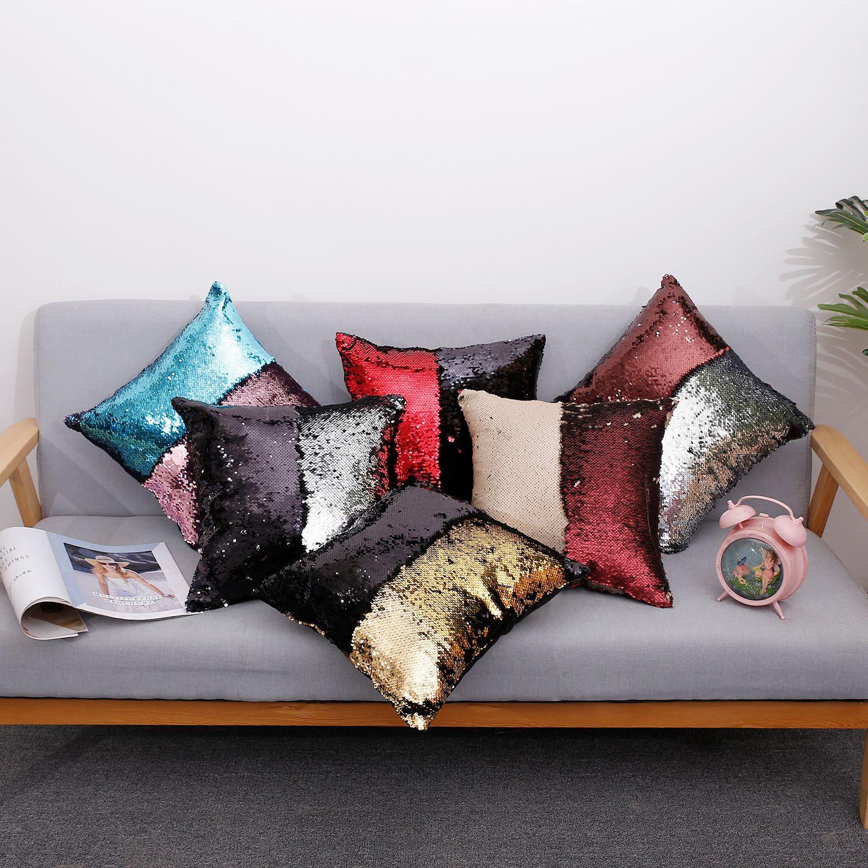 Taie d'oreiller avec sequin magique sirène, housses de coussin réversible Paillettes Dorm Room Décor Sofa Comfy (Multi + Argent) 10PCS