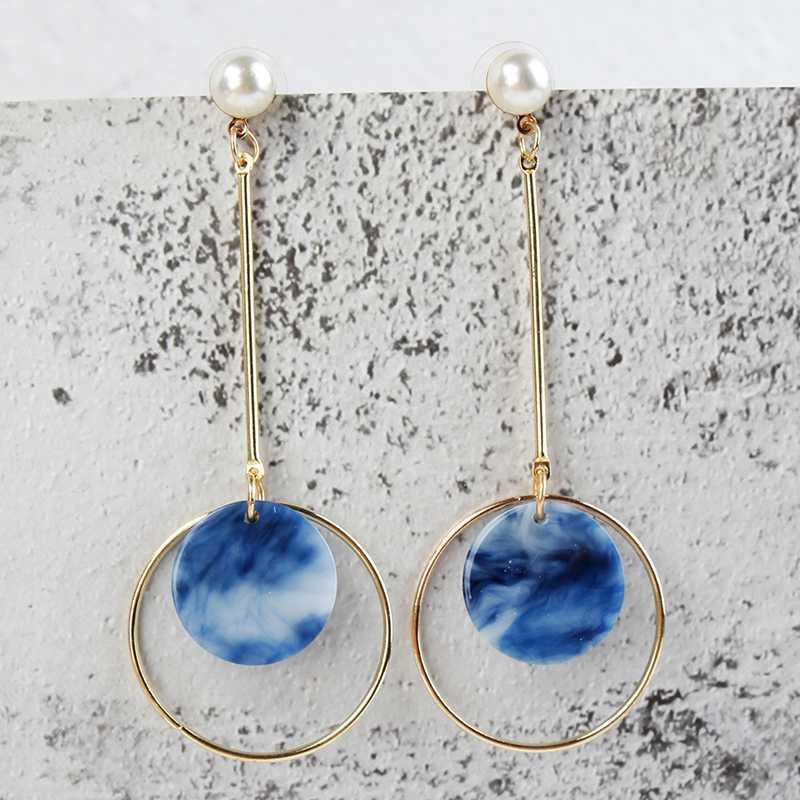 Acrylique Boucles d'oreilles Motif simple tendance Pendentif Mode Femmes Long Boucles d'oreilles Bijoux en alliage