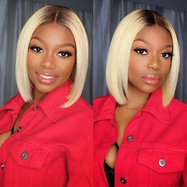 613 Lace Front Human Hair Wigs Colorful Bob Cut Wigs Straight Short Wigs 150% Honey Blonde Human Hair Wig Full End