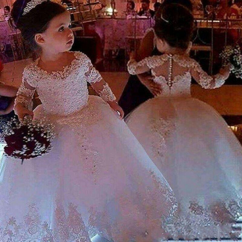 Flower Girl Abiti Spaghetti Ruffles Fiori fatti a mano Fiori pizzo Tutu Vintage Little Baby Gowns per Comunione Boho Wedding
