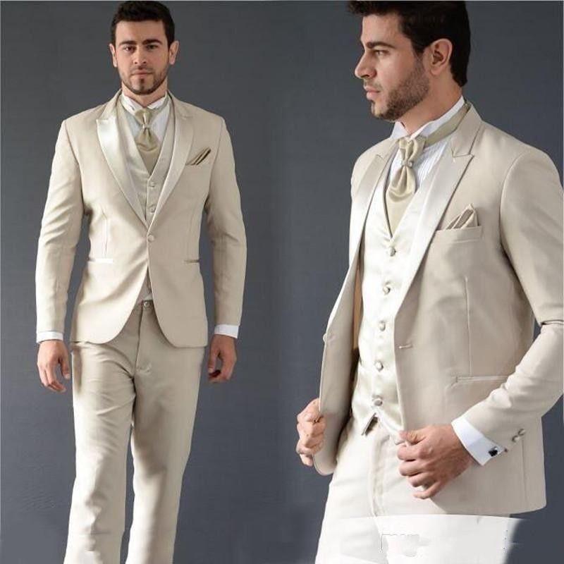 Excelente Bege Noivo Smoking pico lapela Slim Fit Man Wedding 3 peça terno Homens de Negócios Jantar Prom Blazer (jaqueta + calça + gravata + Vest) 594