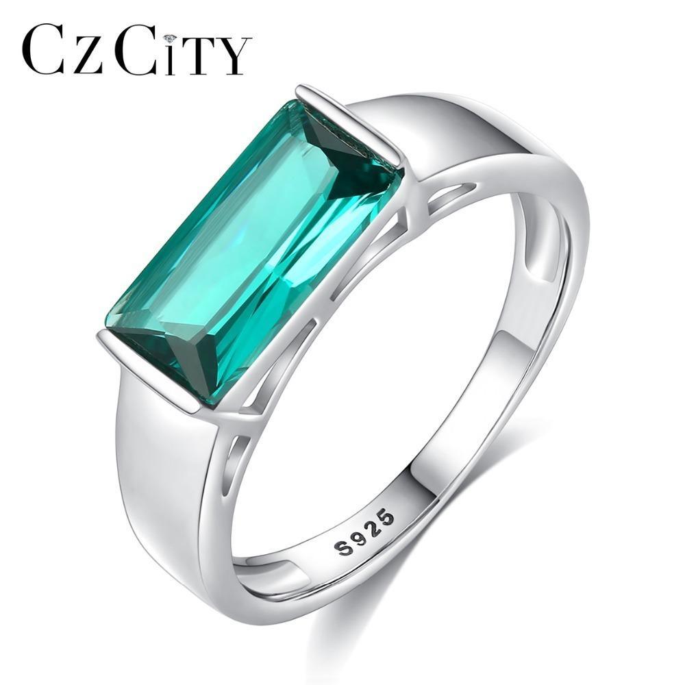 Czcity Yeni Tasarım Büyük Saf 925 Gümüş Yüzük İçin Kadınlar Lüks Yeşil Anillos Mujer Nişan Düğün Aksesuarları Hediye J190709