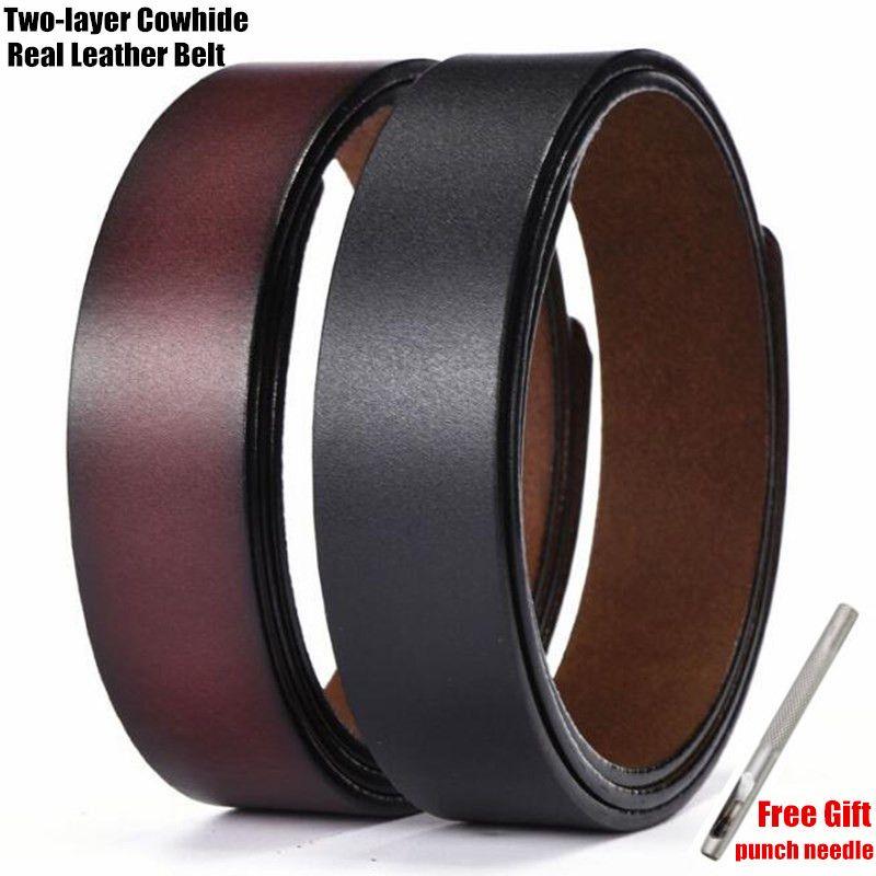 200 pcs 3.5 cm haut classique hommes ceintures en cuir véritable, 100% deux couches couche de peau de vache trou sangle de ceinture, pas de boucle de ceinture, cadeau de Punch Tool