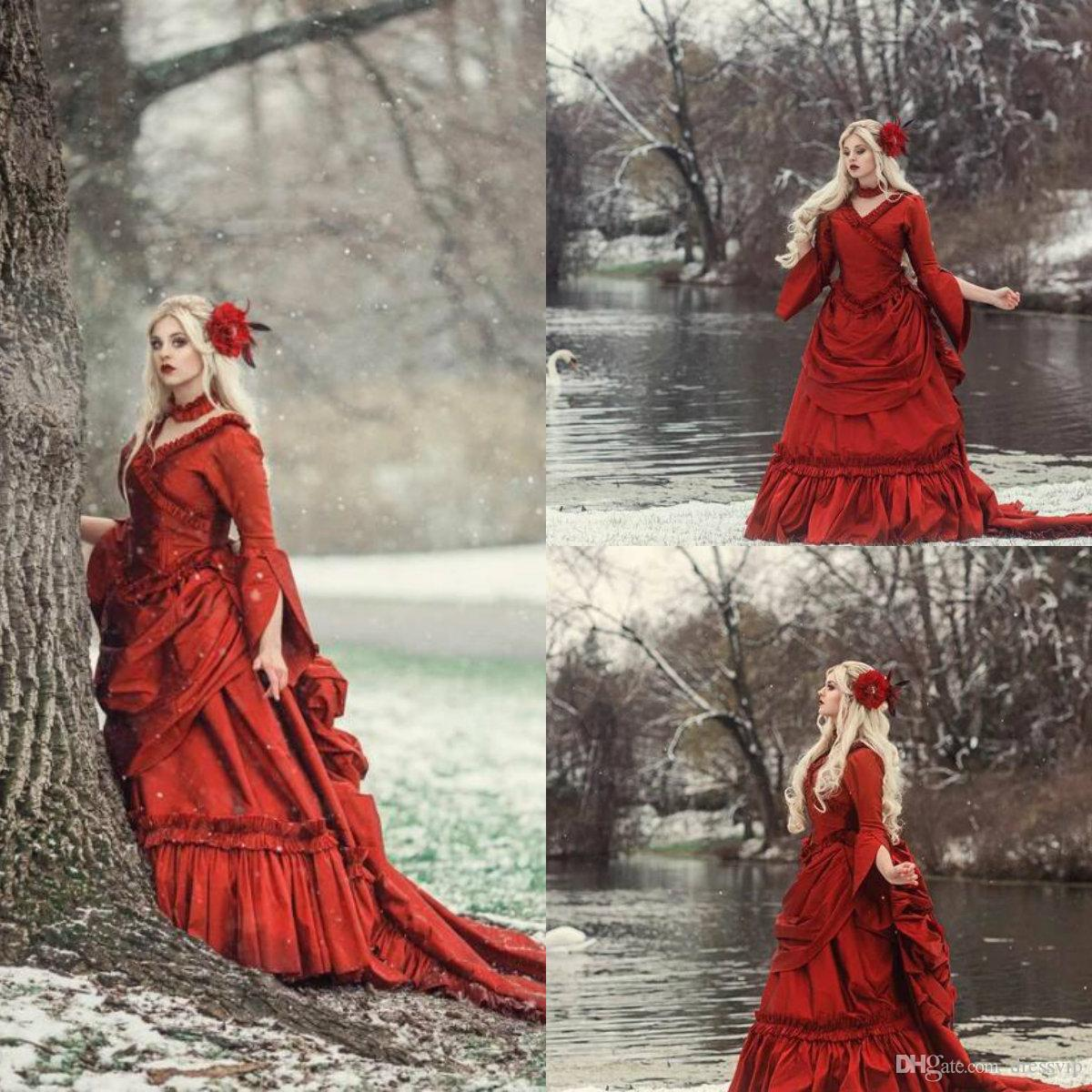 2020 Red Gothic Wedding Dresses V Neck Ruffles Long Sleeve Vintage Victorian Bridal Dress Tiered Skirts Satin Vestidos De Novia