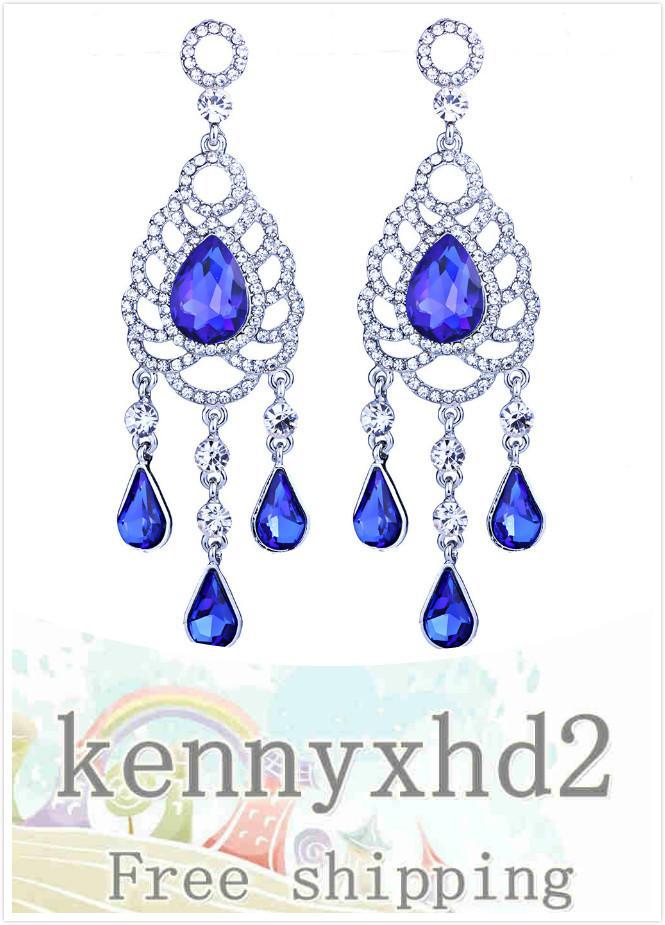 Dinner Jewellery Luxury crystal glass Rhinestone Earrings long water drop Tassel Earrings European and American bridal accessories
