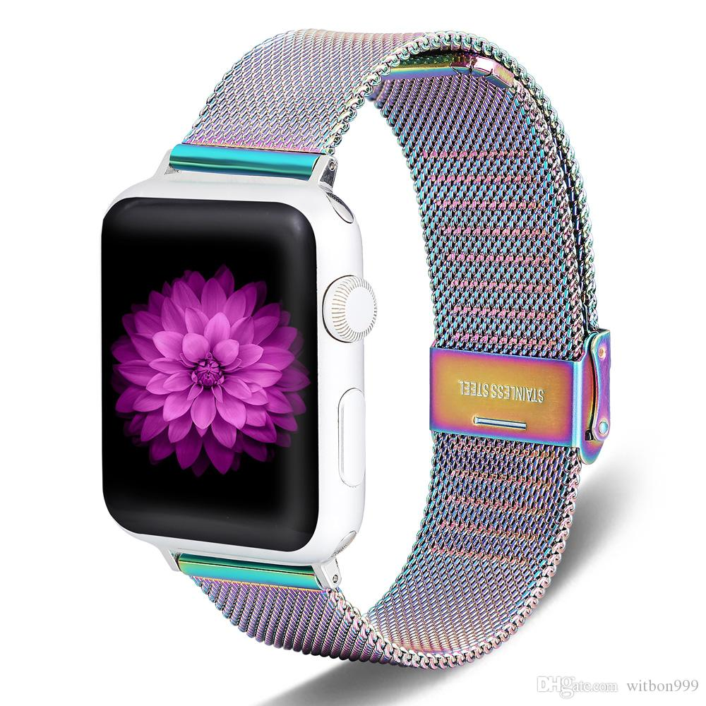 For Apple Watch Band 40 44 38 42 Stainless Steel Metal Replacement Classic for iWatch Series 5/4/3/2/1 Sport and Unisex Silver and Black
