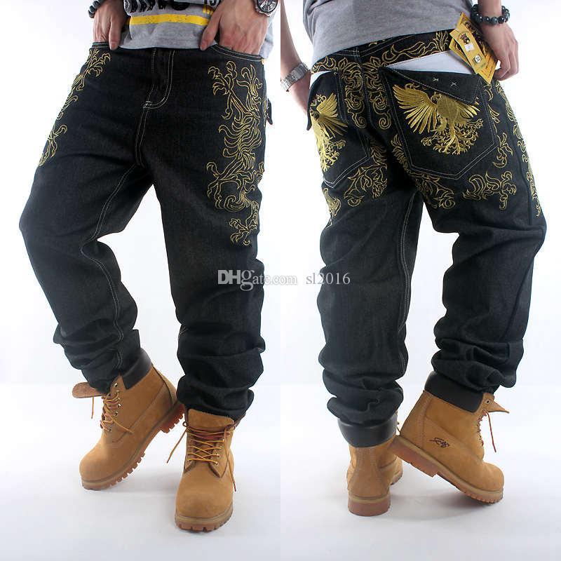İyi Kalite Erkekler Siyah Baggy Jeans Hip Hop Tasarımcı Marka Kaykay Pantolon gevşek Stil Gerçek HipHop Rap Jeans Boy Black Rock Revival 30-46