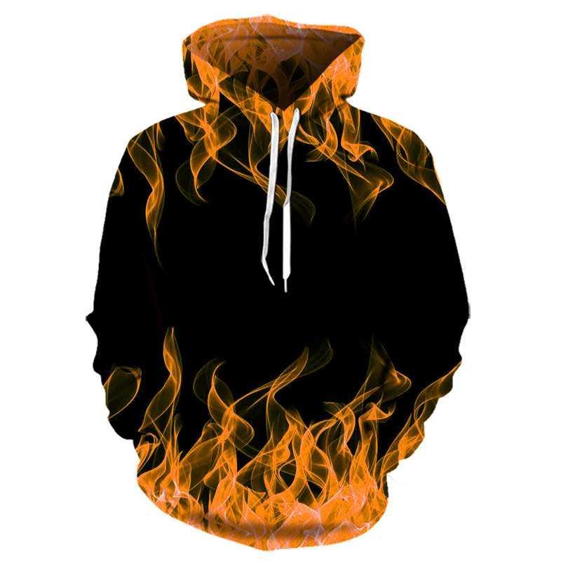 Renkler Alev 3D hoodies erkekler ve kadınlar Için yeni moda sonbahar bahar Kazaklar siyah Hoodies ter Homme 3D eşofman 2020