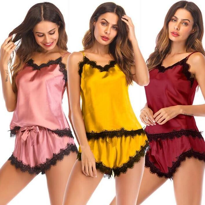 Mulheres Roupa Pijamas Lace Sexy Lingerie Spaghetti Strap Pijamas Pijamas Summer Home Suit V-Neck cetim Roupa de Noite B5461Q Roupa Casual