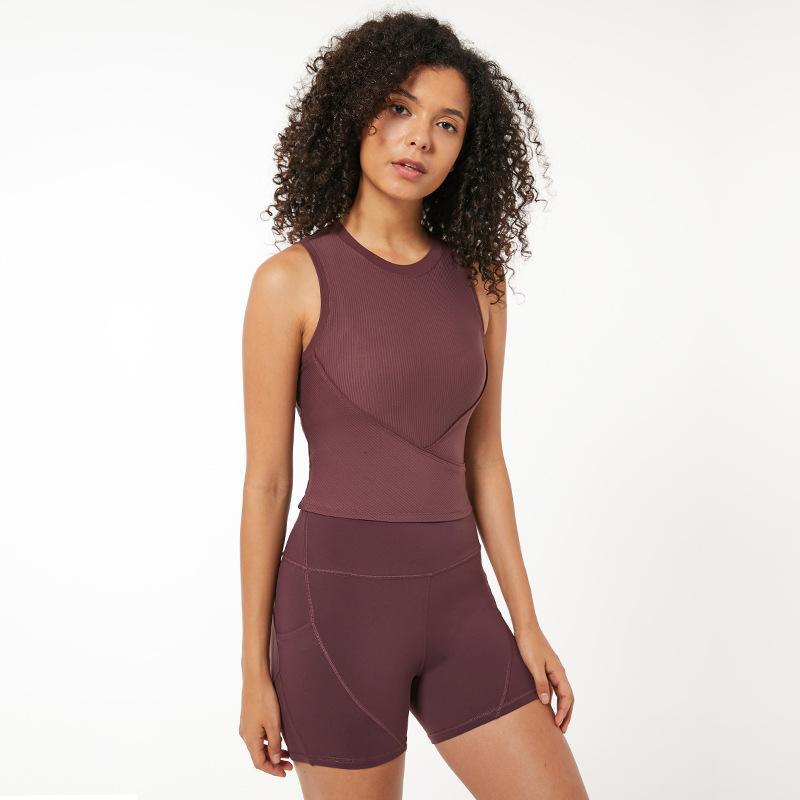 Femal Yoga Vest Sexy Shorts Sports Top Sitness Top Curto Bra duração Sólidos Shirt Sports roupas de ginástica Regatas Sportswear Com Pad