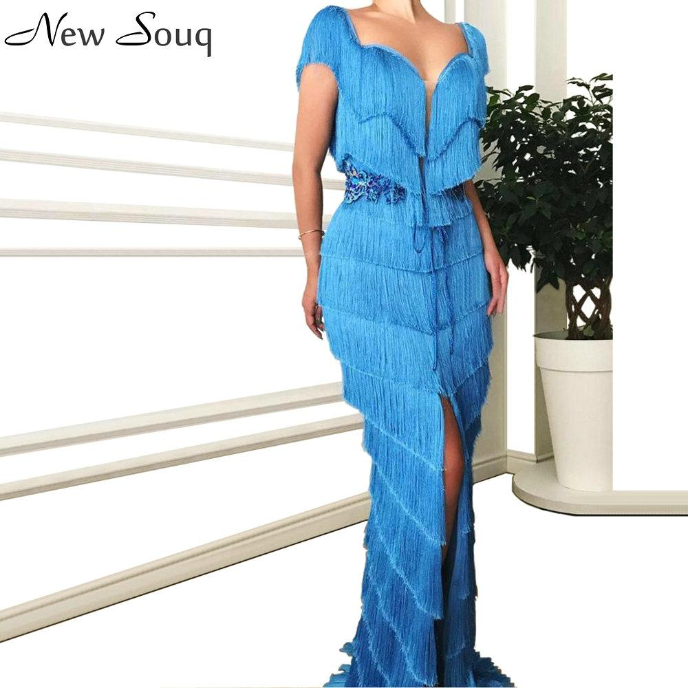 Blu nappa pieno dei vestiti da sera Mermaid Sweetheart collo Split lunghe vesti partito convenzionale Prom Dress Couture