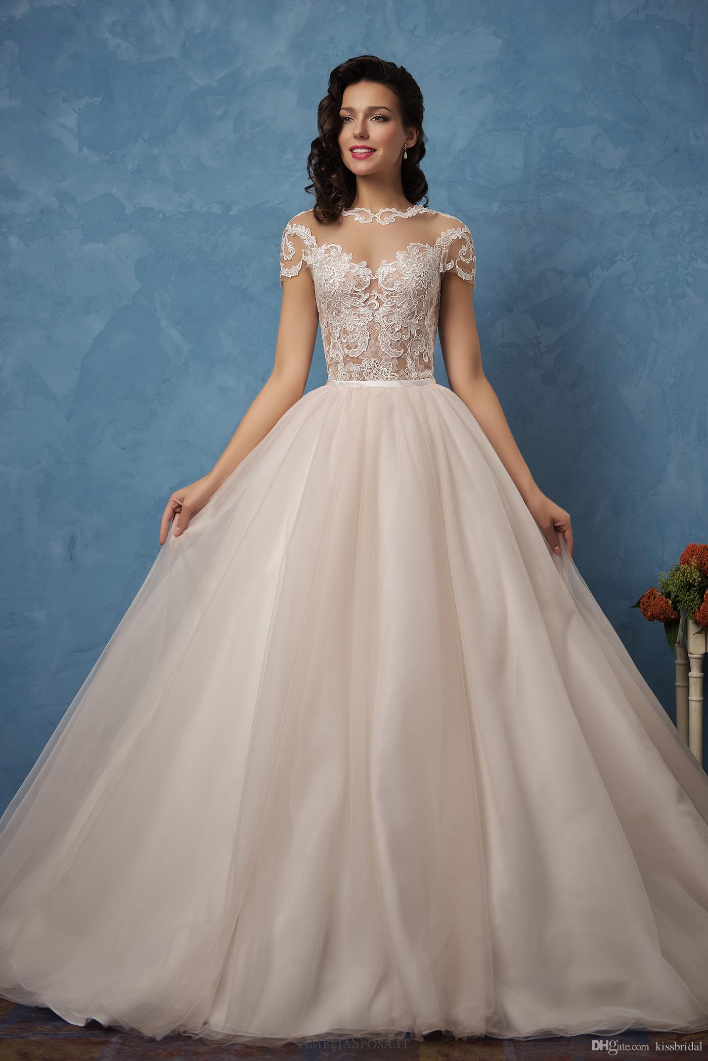 3fd39860c4c 2019 Elegant Lace Wedding Dresses Sheer Illusion Bodice Short Sleeve Bridal  Gowns vestidos de novia Mermaid
