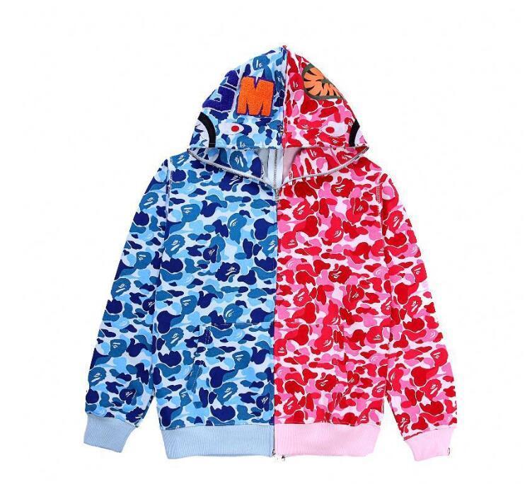 Otoño Invierno Nuevo Hip Hop Streetwear Bordado Shark Camo Spilce Cardigan de algodón con capucha de alta calidad para hombre chaqueta de suéter