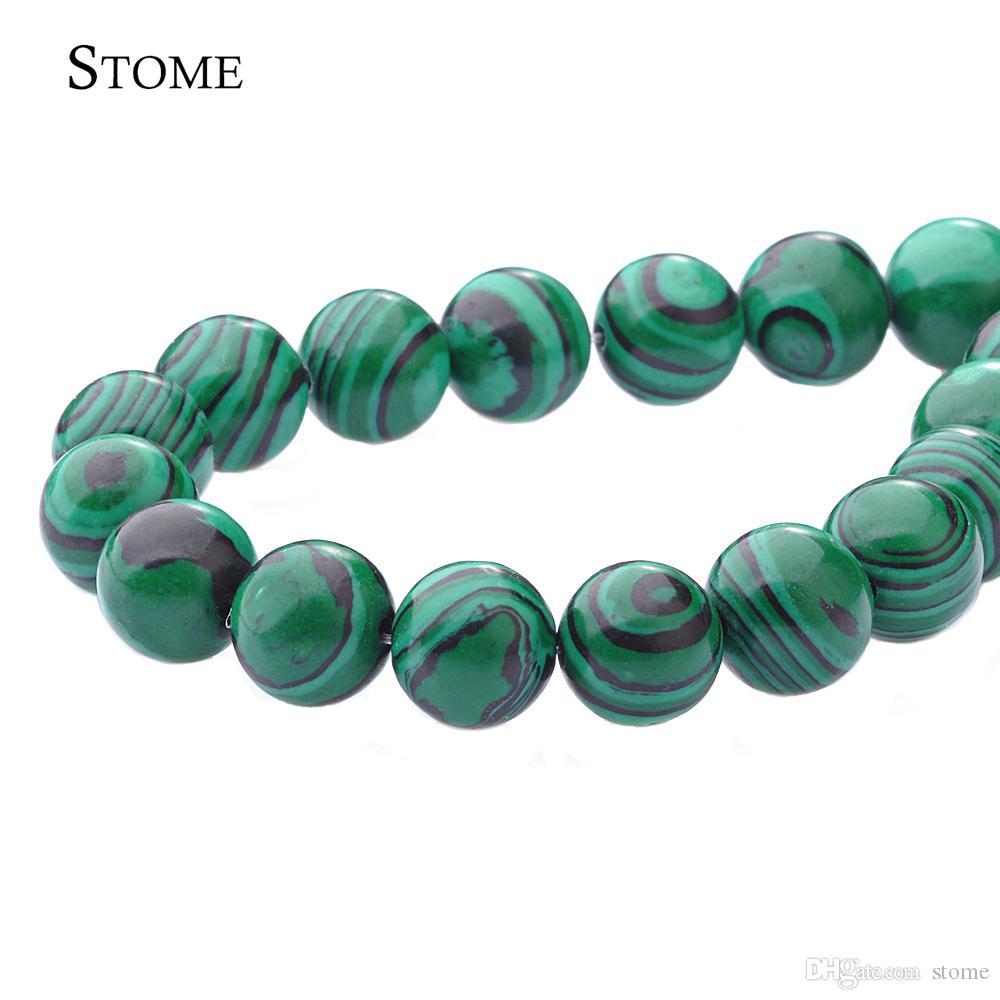 "NEW  10mm Green Malachite Gemstone Round Loose Beads 15/"""