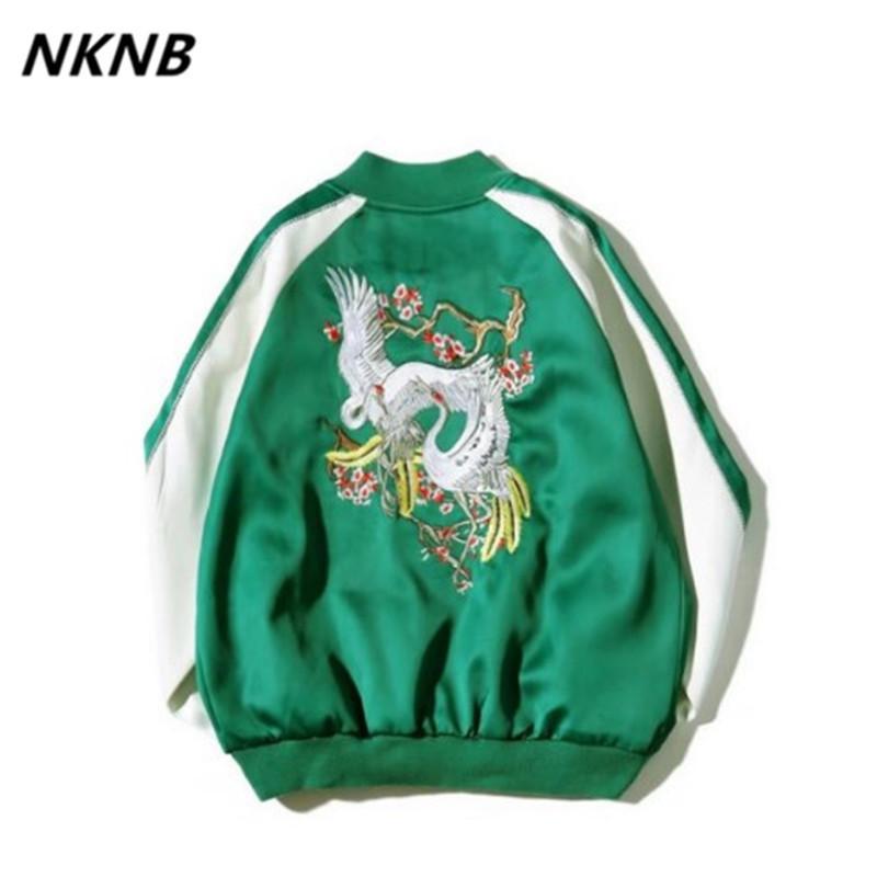 Giapponese raso Sukajan ricamo Bomber Uomini Yokosuka Souvenir Jacket Streetwear Hip Hop Baseball