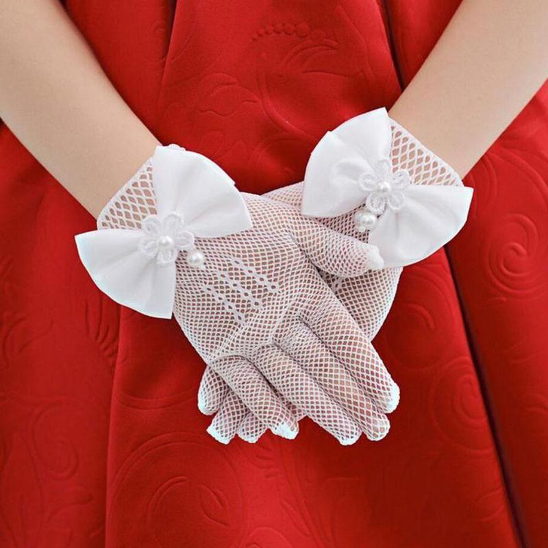 1 Pair Girls Princess Gloves White Hollow Mesh Bowknot Party Children Birthday Flower Girls Accessories Performance Gloves