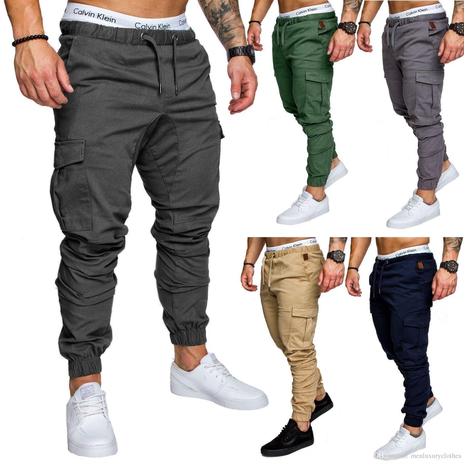Мульти Кармана грузовых брюк для мужчин бегуны Sweatpants легкоатлетических Хлопок Эластичность перетягивания каната Дизайнерских брюк