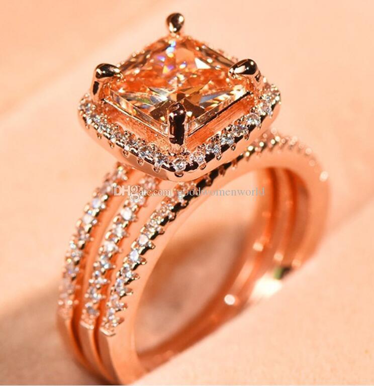 Veloce di trasporto dell'annata del diamante placcato oro rosa 18k tre pezzi anello femminile regalo delle donne Wedding Anniversary Day di alta qualità Mai Fade