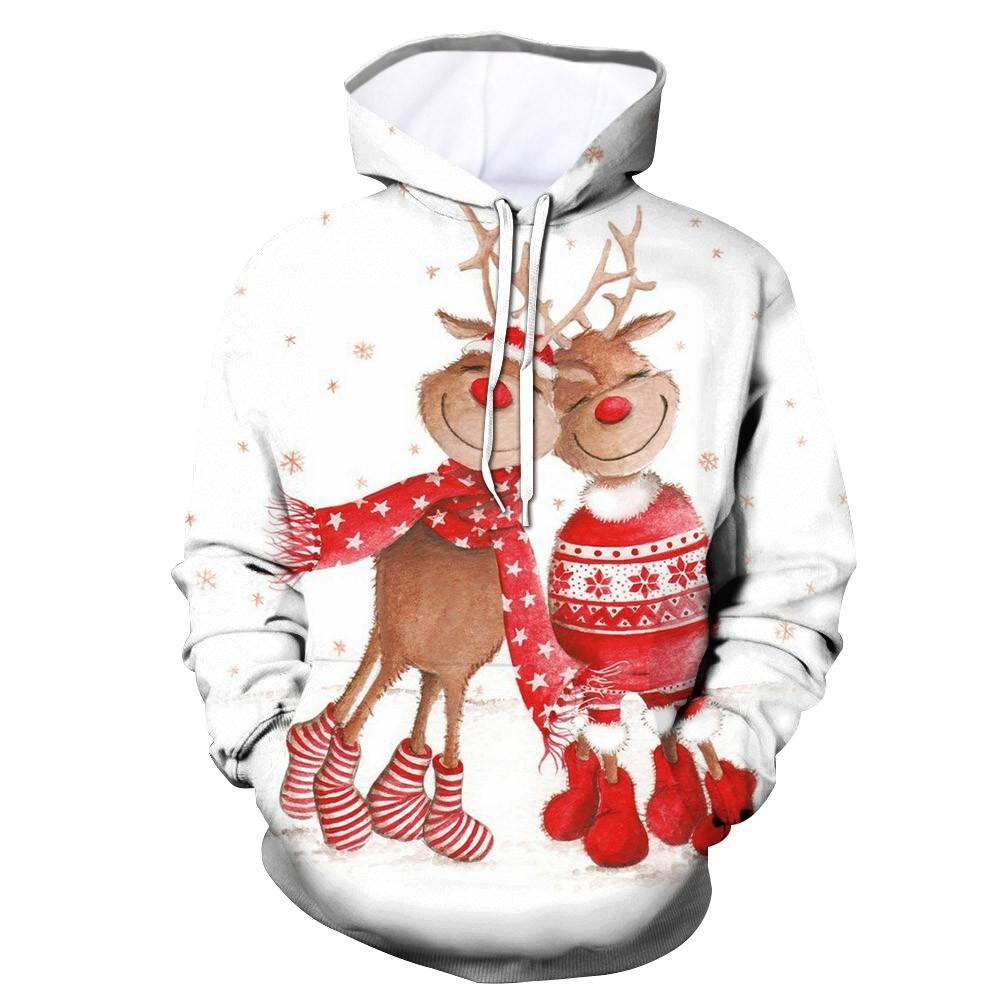 2019 Moda Çift Kapüşonlular Kazak Noel Kostüm Triko Kadın Erkek Lover Casual Giyim Erkek Uzun Kollu Hoody Top Tops