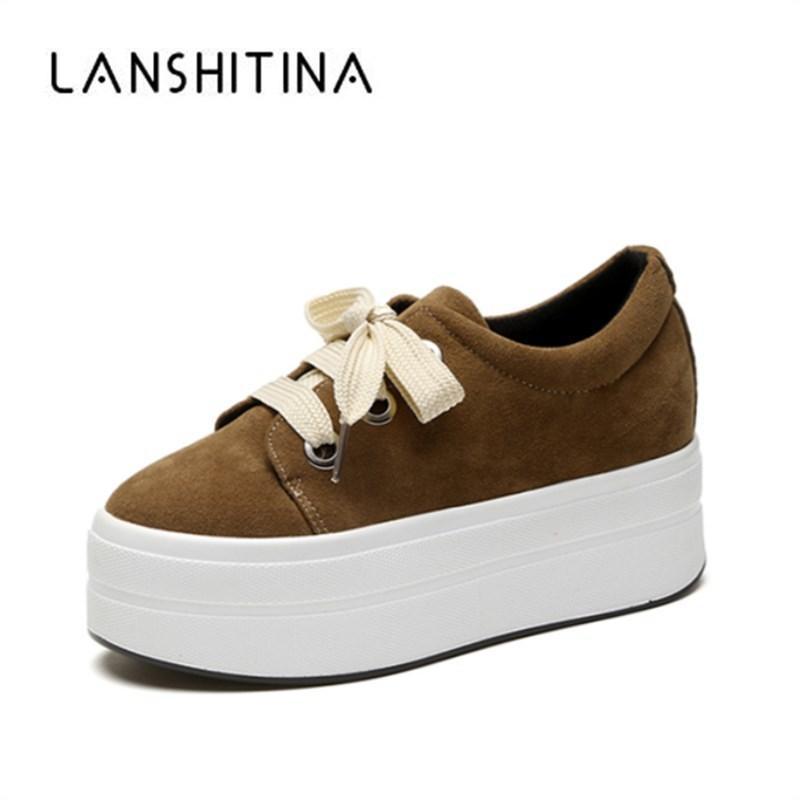 Otoño Cuñas de ante zapatos de plataforma mujer zapatillas de deporte de la cremallera oculto Zapatos de tacón aumento de la altura zapatos de los planos ocasionales para las mujeres