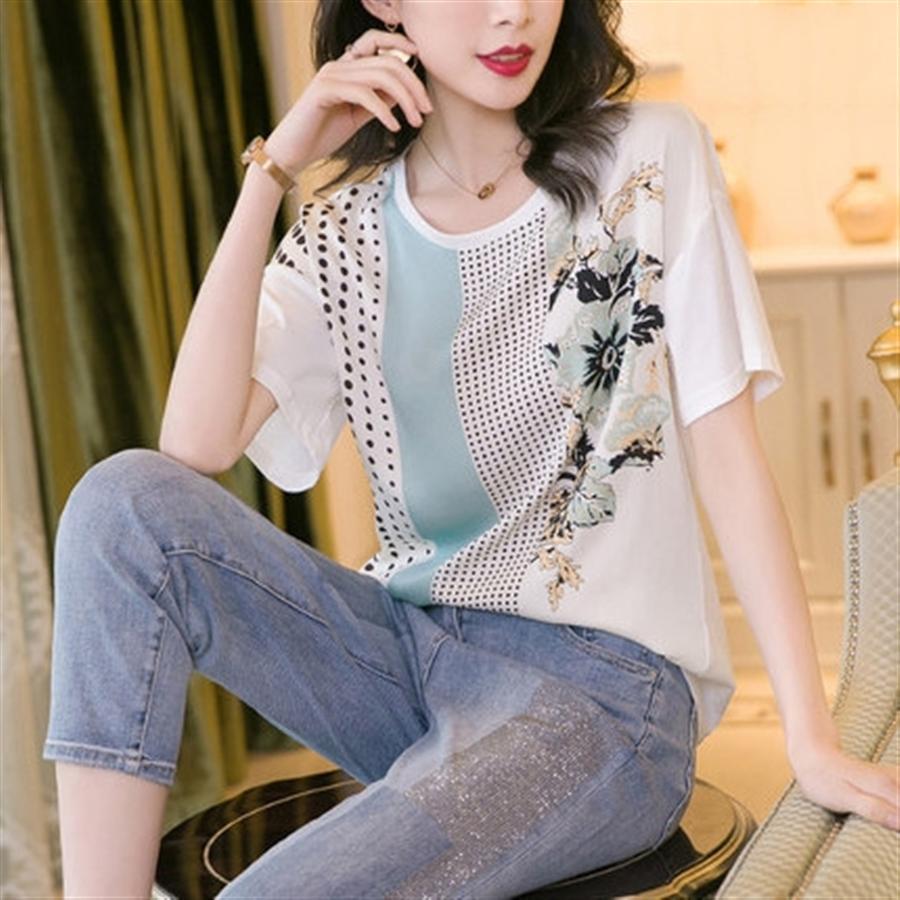 Weiß gedruckt Kurzarm-T-Shirt weibliche 2.020 runde Kragen Baumwolle genäht Maulbeere oben Weiße Seide Kurzarm-T-Shirt Frau 20 gedruckt
