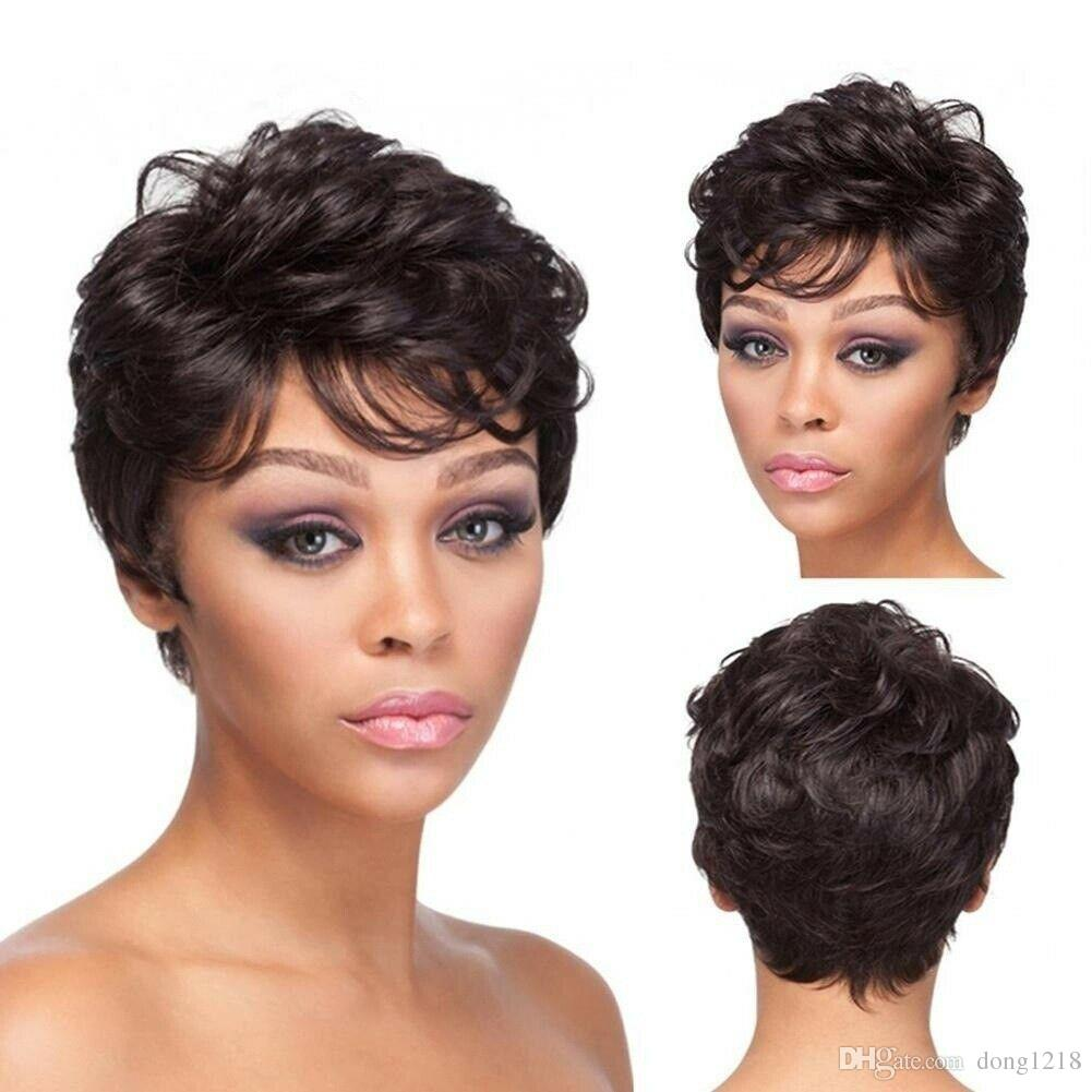 Lady Girl Wig Femmes Brun Court Bouclés Bangs Pleins Cheveux Perruques Cosplay Party