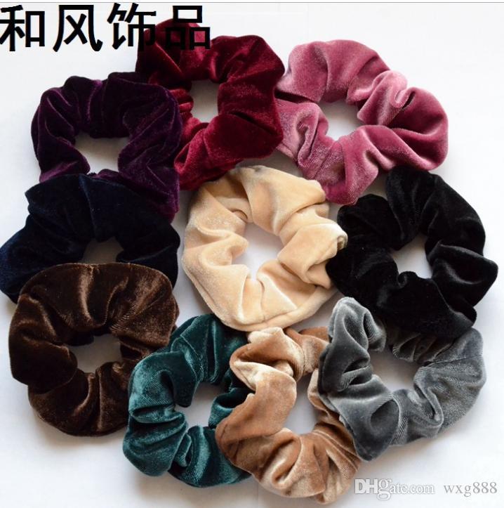 Neue Frauen-Samt-elastisches Haar Scrunchie-Haargummi-Haargummiband-Hauptband-Pferdeschwanz-Halter-mittleres Größe des Groß- und Kleinhandels geben Verschiffen frei
