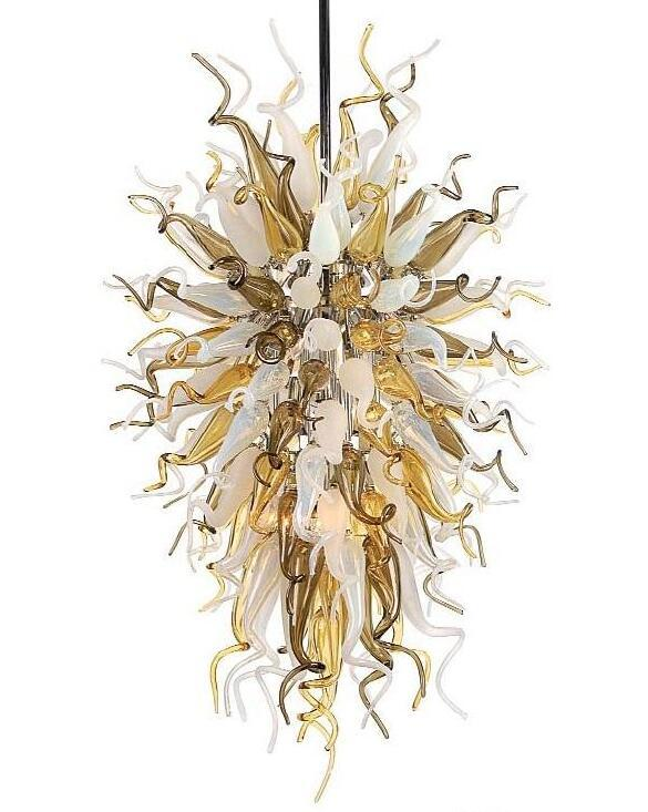 Contemporary LED Light CE/UL Certificate Blown Glass Chandelier Lightings Modern Beige and Brown Glass Chandelier