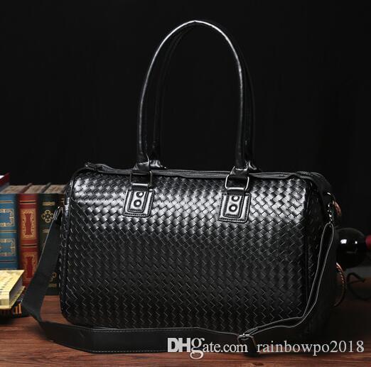 Factory wholesale brand bag business trip hand woven bag all-match style leather woven handbag leisure Korean brand travel bag