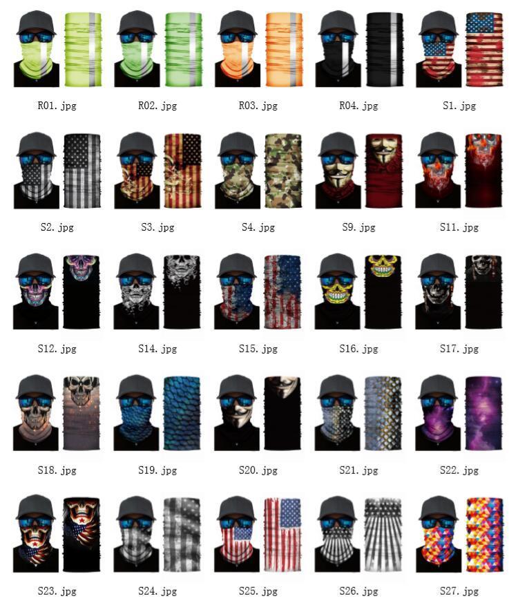 2020 3D الرياضة الرقبة الجمجمة دراجات الصيد وشاح عصابات درع قناع الوجه العصابة باندانا وشاح حزام الرأس دراجة بالاكلافا