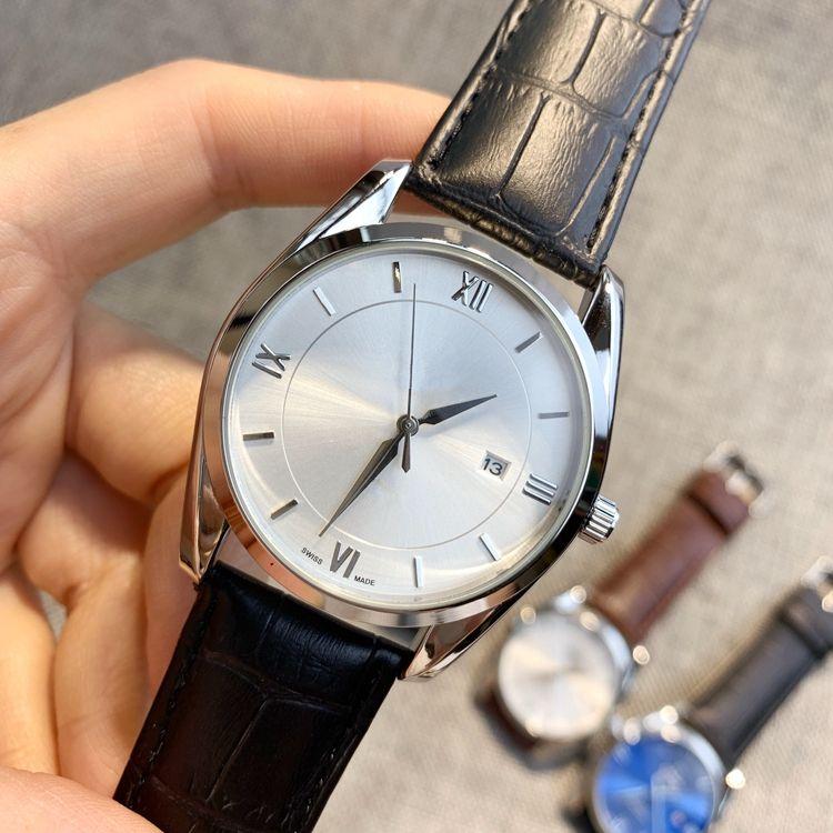 새로운 뜨거운 판매 패션 남자 시계 블랙 / 브라운 정품 달력 손목 시계 우아한 드레스 럭셔리 시계 쿼츠 시계 스틸 케이스 dropshipping