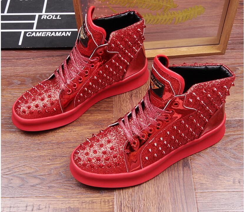 Yüksek Kalite Moda Erkekler Yüksek Üst İngiliz Stil Rrivet Erkek S01 için Kırmızı Altın Siyah Alt lastik ayakkabı erkekler Nedensel Lüks Shoes