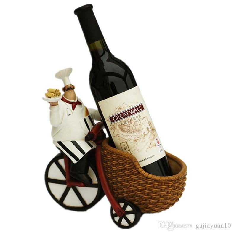 Yaratıcı Reçine Chef Şarap Restoran Tercih için Craft heykelcik Şarap Şişe Tutucu Ev Şarap Süsleme Raf Raflar Raf