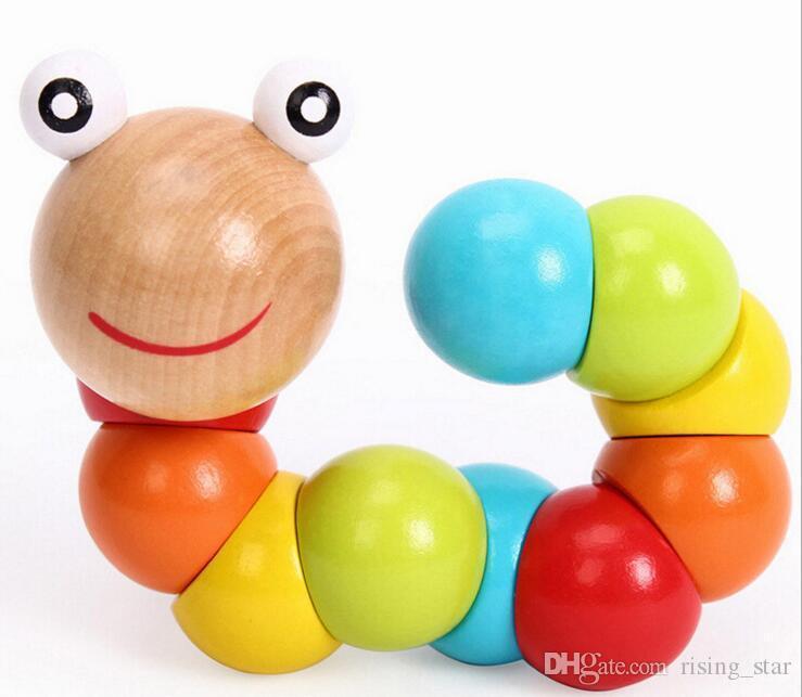 La variété de couleurs de bois de chenilles d'insectes pour les enfants 0-3 ans Tong Yizhi tordu jouets en bois Livraison gratuite