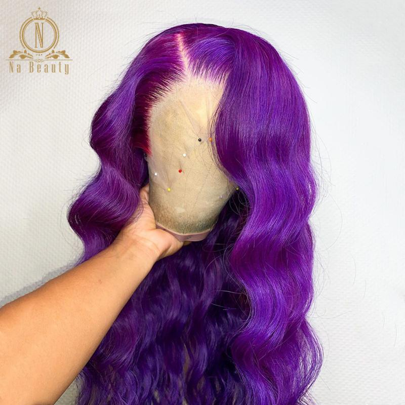 Violet Purple Color Wig Body Wave 13x6 Lace Front Human Hair Wigs Pre Plucked Colored Straight Long Wig for Women Remy Na Beauty
