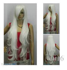 MISS 001948 Nuevo 100cm Extra Largo Ondulado Blanco Brillante Cosplay Peluca libre Hairnet