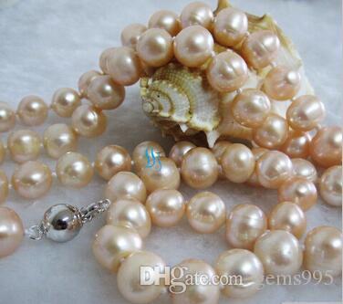 """Collier Envoi gratuit 32"""" +++ 8-10mm Collier Peach rose perle d'eau douce Strand Bijoux"""