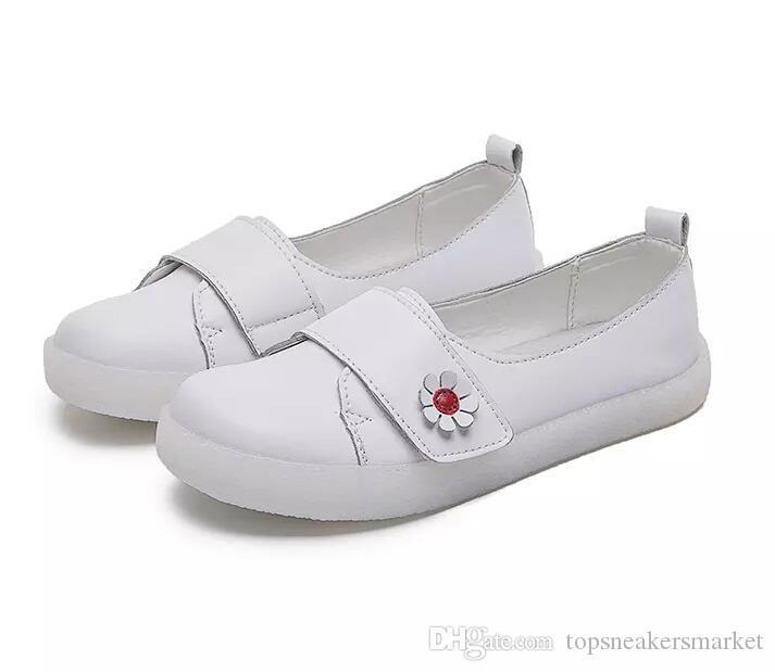 Mulheres calçados casuais de couro branco Flats mulheres Classica Formadores Sports Sneakers Tamanho 34-41 online Slae 02