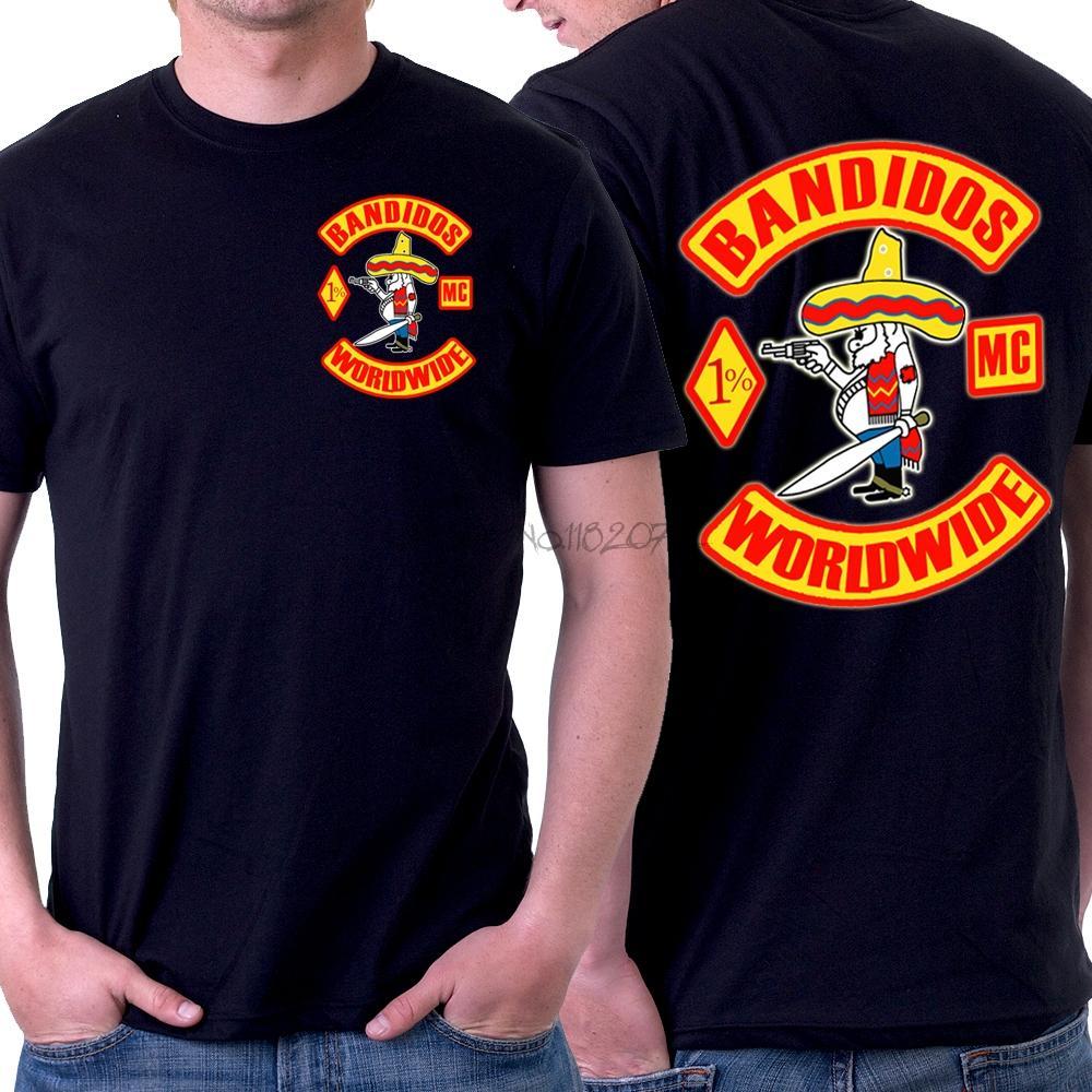 Bandidos motosiklet kulübü erkekler O-BOYUN t gömlek% 100% pamuklu t-shirt erkekler siyah tişört yaz moda euro boyutu en tees sbz5356
