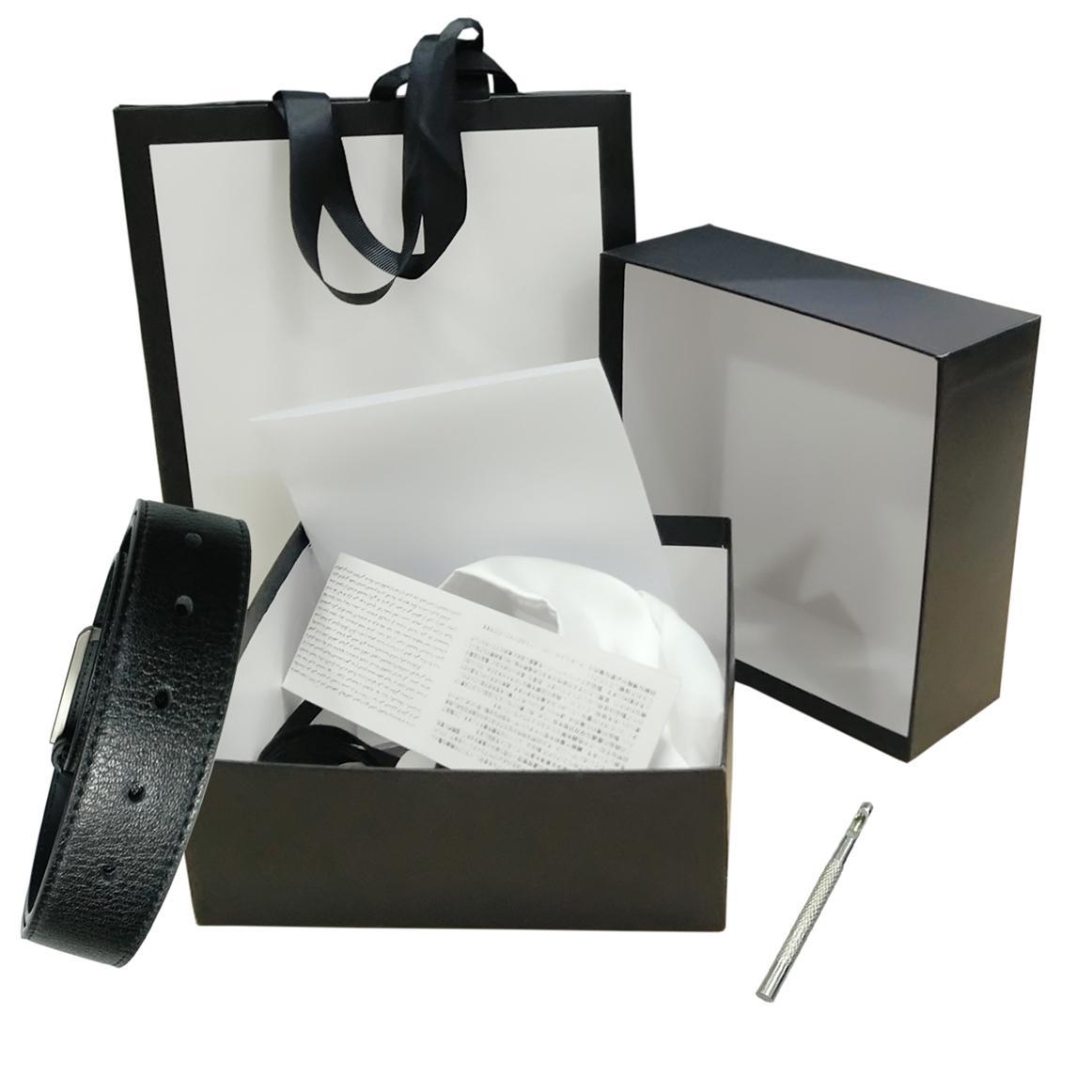 أحزمة إمرأة رجل حزام اسود جلد طبيعي الذهب السلس مشبك مع صندوق أبيض أبيض غبار حقيبة بطاقة الأبيض هدية حقيبة أسود 47 623