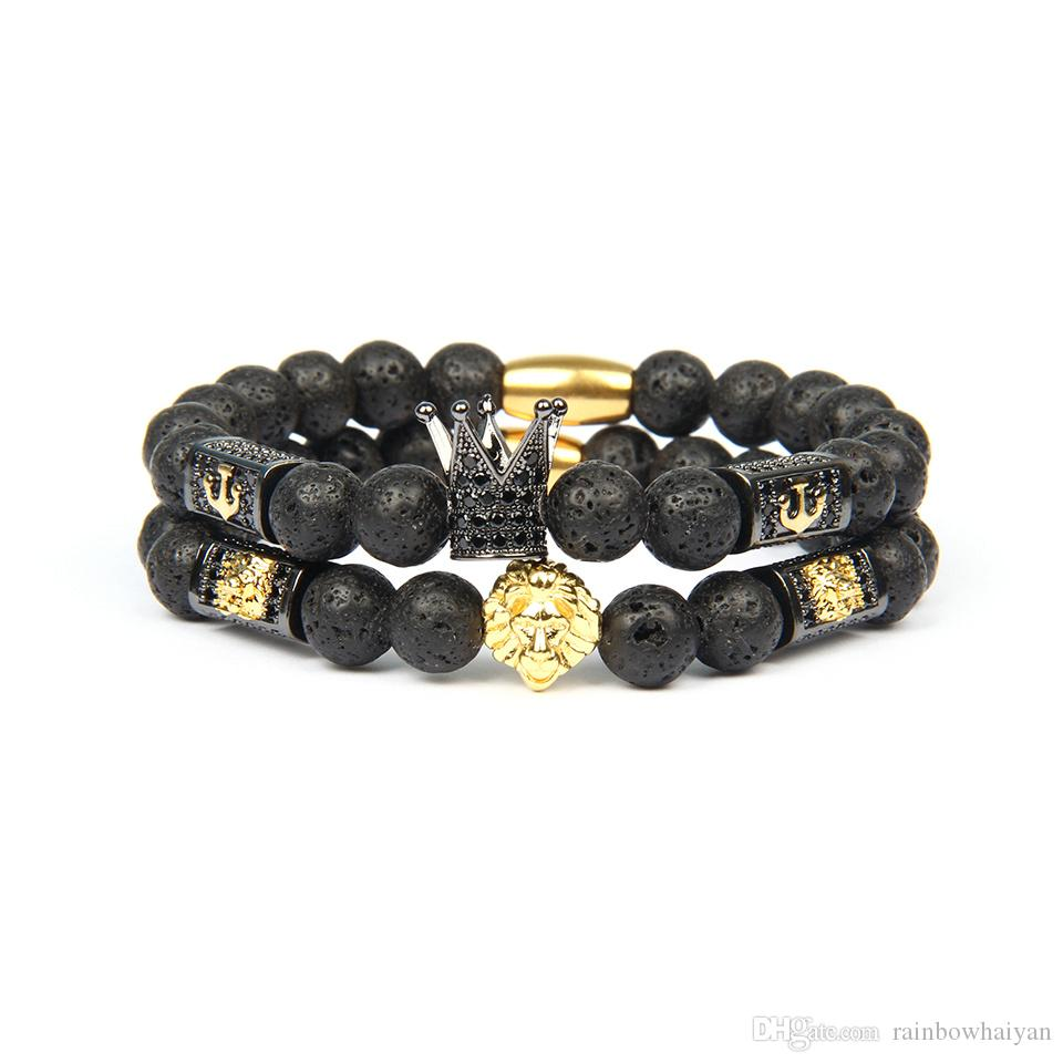 New Classic Lion Beaded Bracelets Bangle Wholesale Gold Stainless Steel Tube With 8mm Natural Lave Stone Beads Men CZ Crown Bracelet Jewelry