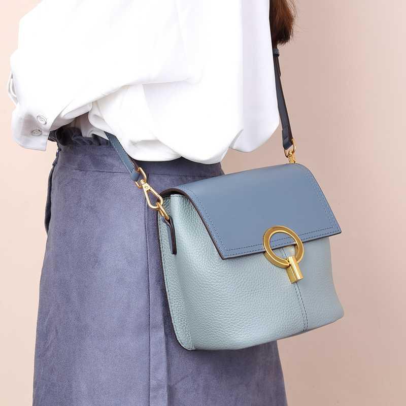 Borse BISONJS donne pelle Borse Piccolo 2020 Estate Nuovo Borsa a tracolla Crossbody Messager Bag per le donne B1669