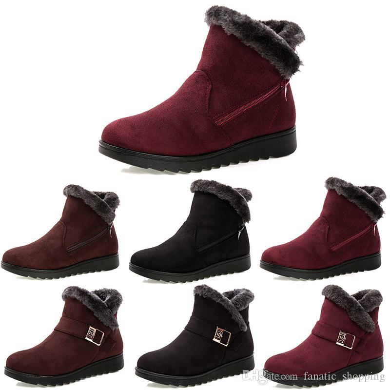 Top non-marque femmes d'hiver bottes de neige Triple Noir Rouge Brun Bottines en daim mère Chaussures Maintien au chaud style 13 35-40