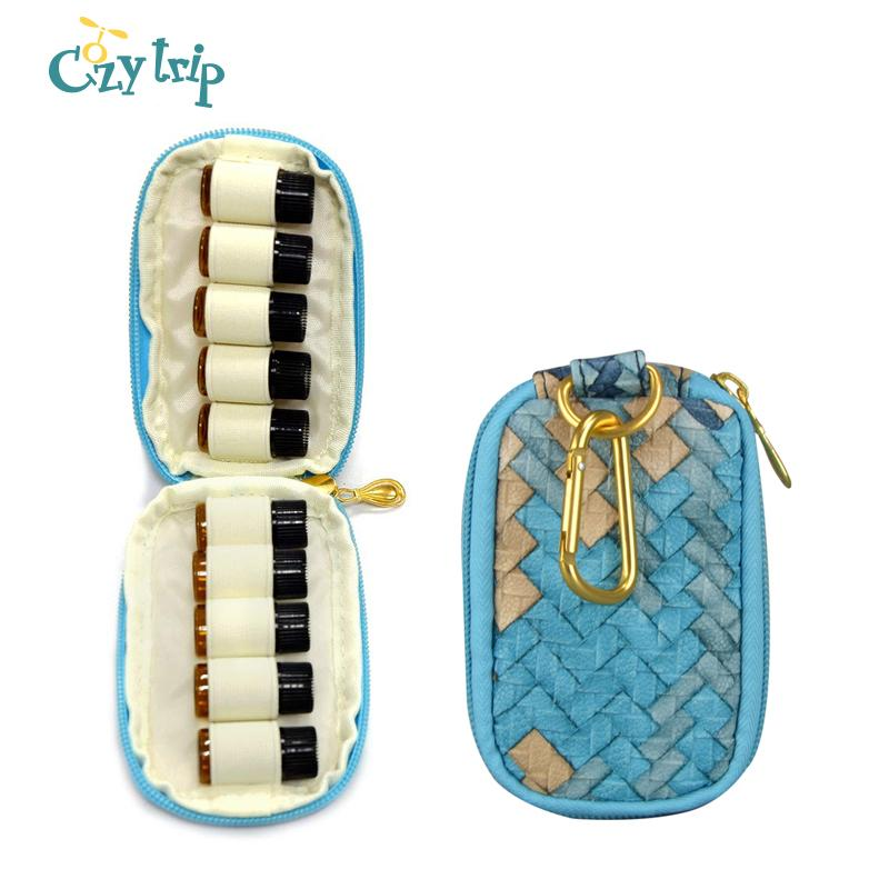 Essential Oil Carrying Case for Holds 5ml Roller Bottles Travel Essential Oil Storage Bag with Key Ring
