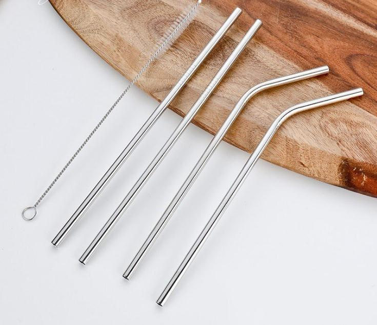 Customized Bag Packing 4+1 Reusable Stainless Steel Drinking Straws Set Metal Straws Set with Cleaning Brush SN1919