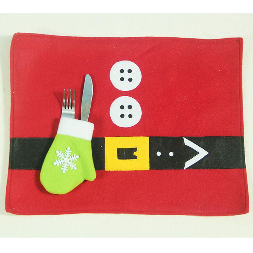 1 Set New Xmas Forks Knife Pockets Pouch Santa Claus Christmas Cutlery Bag Silverware Holders Platemat Table Mat Pad Cushion