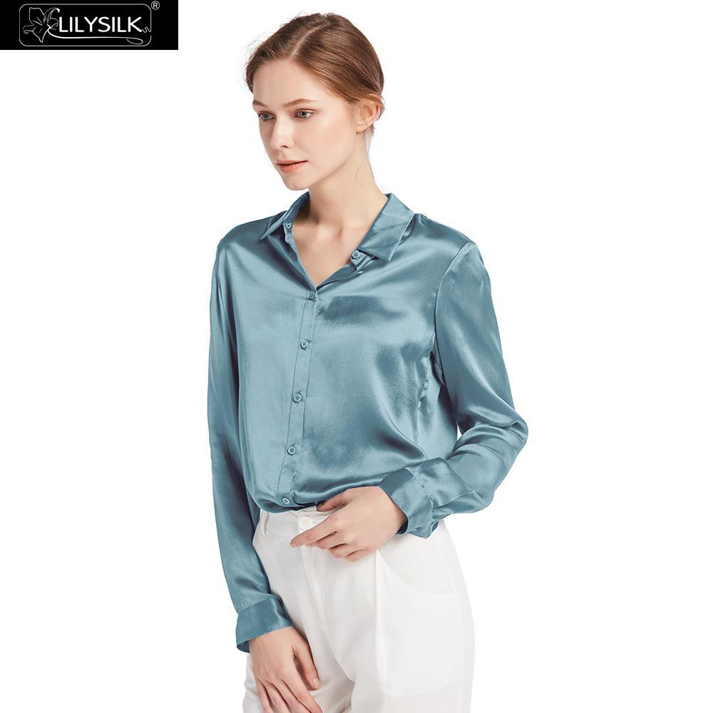 LilySilk Silk Shirts Blouse Women Elegant Basic Pure Natural 100% Charmeuse Silk Chinese 22mm Long Sleeves Glossy Ladies