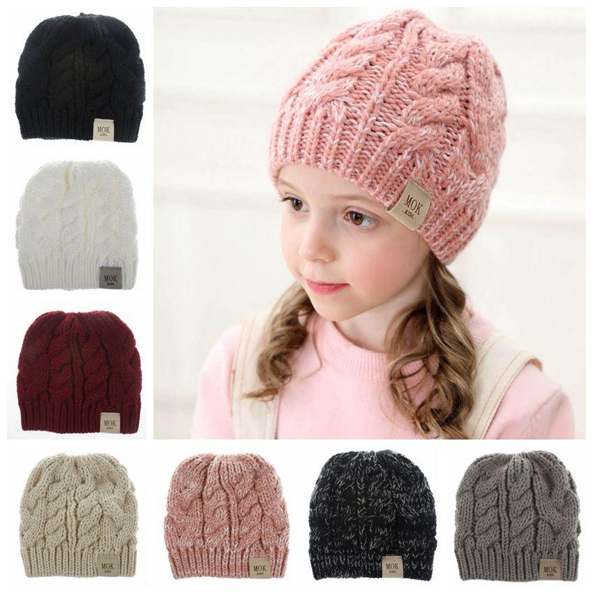Kids Beanies Hats Woolen Crochet Beanie Hat Knitted Skull Caps Stretchy Girls Ponytail Hat Winter Warm Headgear 8 Colors HL15