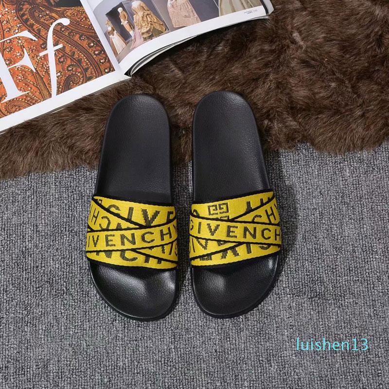 Meilleur Hommes Femmes Sandales Designer Luxury Summer Fashion Diapo plat large Slippery Sandales Slipper flip flop avec la boîte style 5 35-45 L13