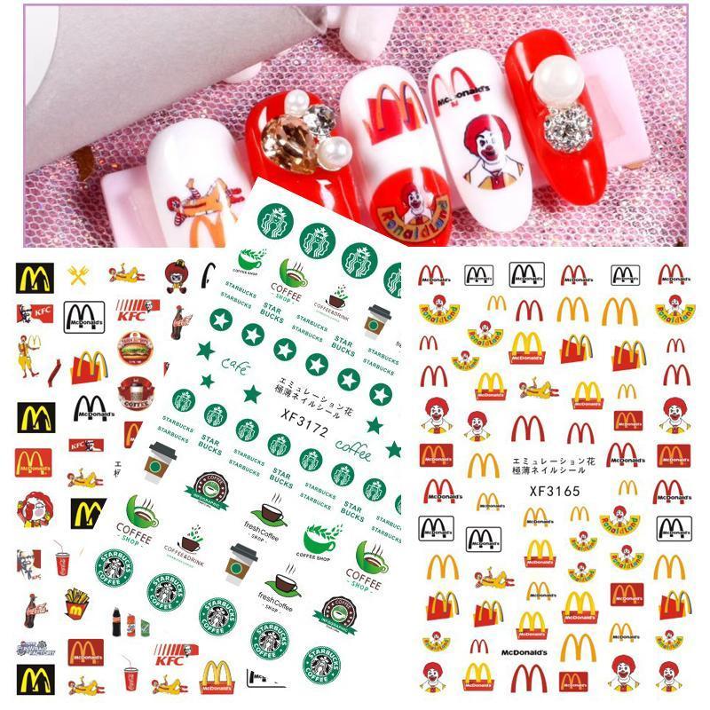 DIY Logo prego Voltar Glue 3D adesivos autocolantes Etiqueta prego decalques Dicas Manicure Mcd onald Nail Art Stickers Decoração